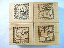 4 Lot Stampin Up Rubber Stamp 1999 Country Collection Rooster Basket Mailbox