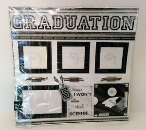 Graduation 2 Pre-made Scrapbook Pages 12x12 Black White 2009 Class Stampin' Up!