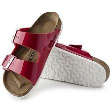 Birkenstock Arizona Sandalen schmal Lack tango red rot Pantoletten Hausschuhe