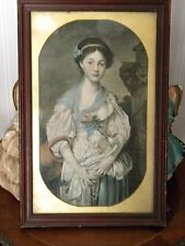 ANTIQUE PORTRAIT WOODEN FRAME TEMPERA PAINTING YOUNG WOMAN COLORFUL FLOWERS