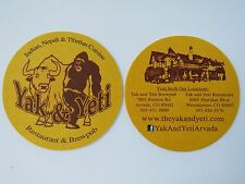 Beer Coaster ~*~ YAK & YETI Indian & Nepali Restaurant & Brewpub <> COLORADO Fun