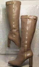 ANN TAYLOR COBY TAUPE LATTE LEATHER ZIP KNEE HIGH FASHION BOOTS SZ 7.5M $318