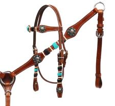 WESTERN SADDLE HORSE BRIDLE & BREAST COLLAR W TURQUOISE & BLACK RAWHIDE ACCENTS