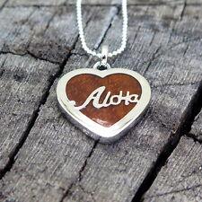 Hawaii Koa Wood Jewelry Aloha Heart Silver Rhodium Plated Brass Pendant BRP1004