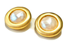 VTG GIVENCHY Gold Brush Satin Round Faux Baroque Pearl Button Earrings