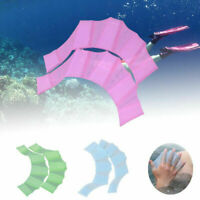 Silicone Hand Swimming Fins Flippers Palm Swim Finger Webbed Gloves Paddle G5A9