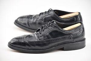 HANOVER 9.5C BLACK SHELL CORDOVAN WINGTIP LWB DRESS SHOES 3351