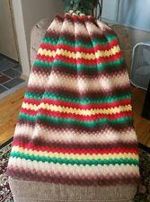 Vintage Afghan 100% Wool Throw Lap Blanket Crochet