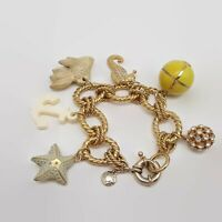 J. Crew Polka Gold Tone Enamel Starfish Seahorse Nautical Charm Bracelet