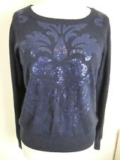 Womens Monsoon Blue Navy Sequin Jumper Size L 14 Christmas Winter Angora(b18)