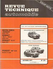 REVUE TECHNIQUE AUTOMOBILE 371 RTA 1977 PEUGEOT 104 MATRA BAGHEERA R16 L TL TX