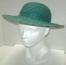 TEAL STRAW  HAT HALLOWEEN Liz Claiborne 80's Fashion ITALY TRIANGLE LOGO Dyed