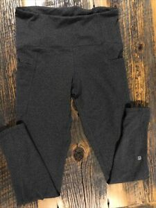 Champion Womens Stretch Gray Full Length Leggings Yoga Pants Size Large-Pockets