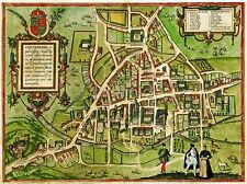 Map of Cambridge England 1575 , Reprint 10x8 Inch