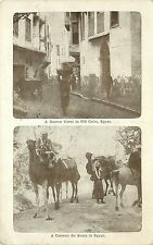 Vintage Postcard Multiview Cairo Old Egypt street scene & Caravan with Camels
