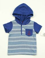 KIDS HEADQUARTERS INFANT BOYS ANCHOR BLUE STRIPED HOODED TOP 3-6M