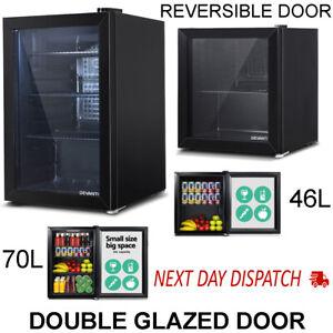 Glass Door Mini Bar Fridge Drinks Beer Refrigerator Front Small Display Black