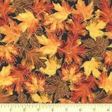 Oak Leaves Fabric Fat Quarter Cotton Craft Quilting Autumn Harvest Metallic Leaf