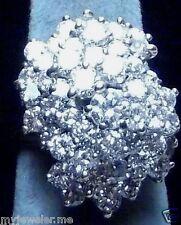 LADIES COCKTAIL 6 CARAT DIAMOND CLUSTER RING, 14K YELLOW GOLD,  NO ENHANCEMENTS