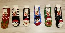 50 PERCENT OFF! 6 Women's GREAT CHRISTMAS CHARACTER SLIPPER SOCKS Size 8 To 10.
