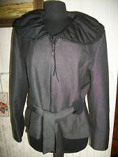 Veste courte zip gris polyester/viscose stretch PRUNELLE 46 ceinture grand col