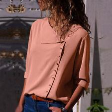 Women Fashion Long Sleeve Office Lady Chiffon Blouse Shirt T-Shirt Ladies Top