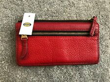 Fossil Erin Leather Flap Clutch, Coin Purse, Wallet, Red, New with tag BNWT
