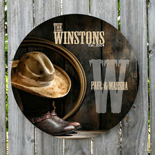 Western Country Rustic Boots And Hat Personalized Sign Monogrammed