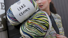 600g Wolle CLOWN Lang Yarns Mint Erika Blau Zitrone NATUR Ecrue Weiss Bunt Gold