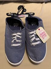 Faded Glory Girls Lace-Up Canvas Casual Sneakers Shoes Size 12 Blue W Glitter