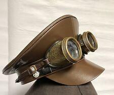 Steampunk Militaire Chapeau Marron Avec rustique en relief Goggles 58 cm