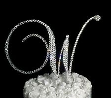 "Handmade Clear Crystals 5""   Monogram Letter ""W"" Wedding Cake Topper"