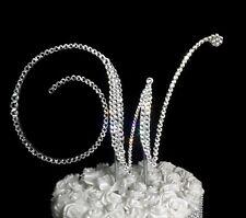 "Handmade Swarovski Clear Crystals 5""   Monogram Letter ""W"" Wedding Cake Topper"