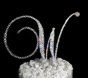 "Handmade Clear Crystals 6""  Monogram Letter ""W"" Wedding Cake Topper"
