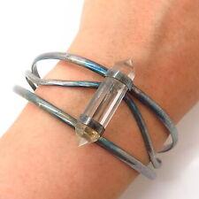 """Amulet Cuff Bracelet 7 1/4"""" 925 Sterling Silver Vintage Clear Quartz"""