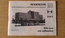 Marklin HO 3065 Diesel Locomotive Instruction Leaflet 68 365 TN 02 72 ju