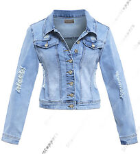 NEW DENIM JACKET Women Jeans Jackets LADIES Distressed Rip Blue Size 8 10 12 14