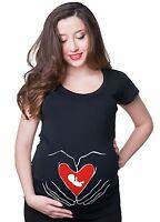Maternity Tees Baby Heart Love T Shirt Mom Funny Maternity Shirt Pregnancy Shirt
