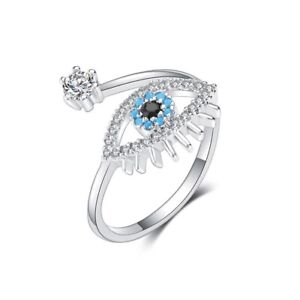ZARD Good Luck Evil Eye Shaped Blue White Cubic Zirconia Ring Sterling Silver