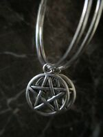 Silver Plated Hoops Pentacle Pentagram Handcrafted Earrings-Wicca Pagan