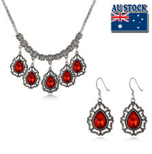 Classic Platinum Plated Red Tear Drop Crystal Necklace And Earrings Set Party