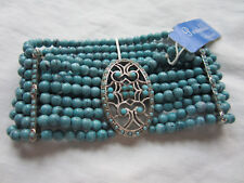 Periwinkle by Barlow Bracelet Turquoise Multi Strand Silver Spacers 4 mm beads