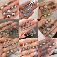 12Pairs Retro Women Ear Clip Boho Hoop Bohemia Earrings Set Cuff Stud Crystal