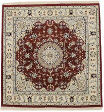 Hand Knotted Nain Red Square 4X4 Classic Floral Design Area Rug Oriental Carpet