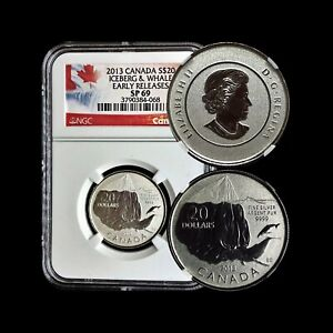 2013 Canada $20 Dollars (Silver) - NGC SP 69 Iceberg Whale - TOP POP 🥇