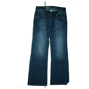 edc by Esprit Play Damen Jeans Hose Bootcut Low Waist Gr. 30 L32 dunkel Blau TOP