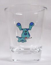 BLUES CLUES CARTOON CHARACTER IMAGE ON A CLEAR SHOT GLASS