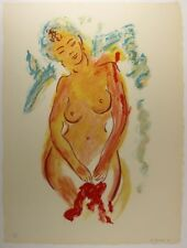 """Original Wayne Ensrud Limited Lithograph """"Nude with Red Flowers"""" HAND SIGNED COA"""