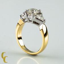 18Ct Oro Amarillo y Blanco Anillo de Compromiso Diamante
