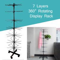 7 Tier Rotating Shop Display Stand 1.6M Floor Rotate Rack Bag Cap Holder Black